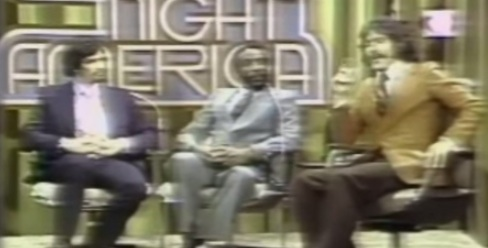 Robert Grodens (left) shows the Zapruder on Geraldo Rivera's talk show